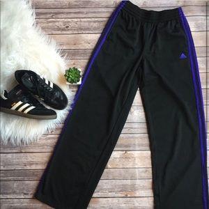 Adidas XS Black Purple Athletic Pants sweatpants